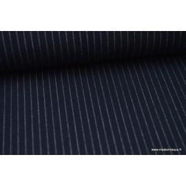 Tissu Gabardine stretch Rayures Tennis fines coloris Bleu marine  .x1m