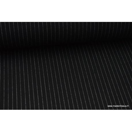 Tissu Gabardine Rayures Tennis fines coloris Noir  .x1m