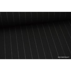 Tissu Gabardine Rayures borsalino large Noir  .x1m