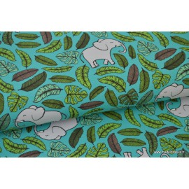 Tissu jersey French terry imprimé Elephants Jungle Bleu