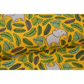 Tissu jersey French terry imprimé Elephants  Jungle Moutarde