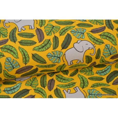 Tissu jersey imprimé Jungle Moutarde