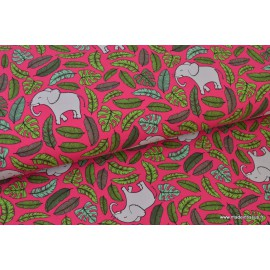 Tissu jersey French terry imprimé Elephants  Jungle rose