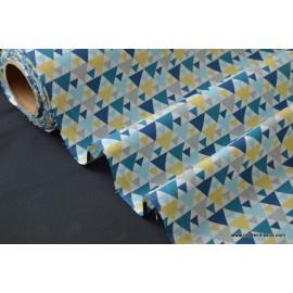 tissu popeline coton imprimé dessin tigaya bleu .x1m