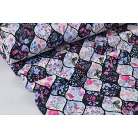 COUPON dim 50 x 150 de Tissu Jersey envers Minky imprimé fleurs et papillons bleu, noir et rose