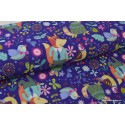 Tissu Soft shell imprimé renards et oiseaux violet