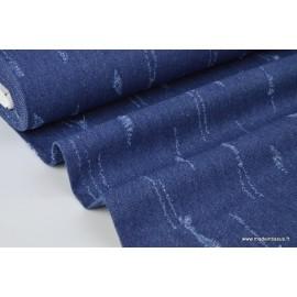 Tissu jean déchiré Bleu brillant