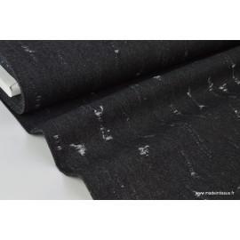 1 coupon de 95 cm de Tissu jean déchiré Noir brillant