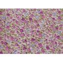 Tissu Popeline coton imprimé fleurs parmes et lilas .x1m