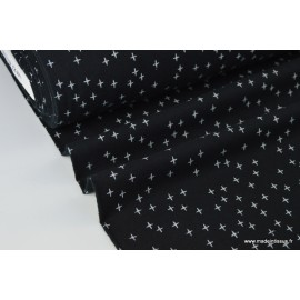 Tissu Flanelle imprimé petites croix fond Noir .x1m