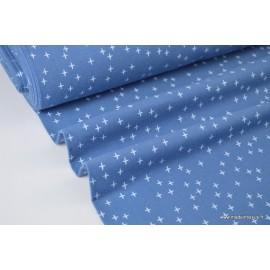 Tissu Flanelle imprimé petites croix fond Bleu .x1m