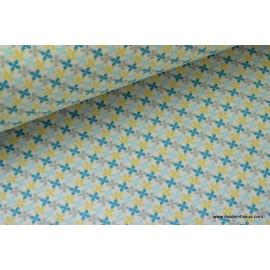 tissu popeline coton imprimé dessin kebull bleu .x1m