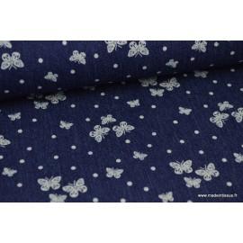 Tissu jean's imprimé pois et papillons .x1m
