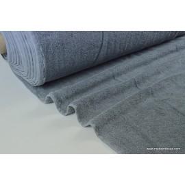 Tissu Eponge coton anthracite  lisiere cousue fermée .x1m