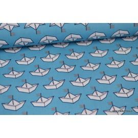 Tissu Popeline coton imprimé Bateaux en papier fond Bleu