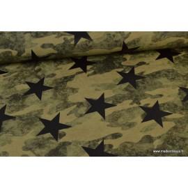Tissu jersey French terry imprimé Camouflage et étoiles KAKI