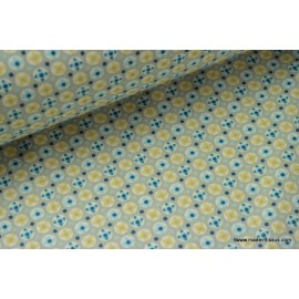 tissu popeline coton imprimé dessin avrey bleu x50cm