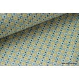 tissu popeline coton imprimé dessin avrey bleu .x1m