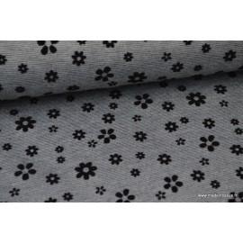 Tissu Jersey lourd gris punto di Roma floqué fleurs noirs