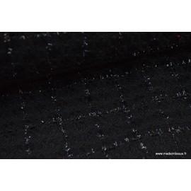 Tissu Tweed Noir avec fils Brillants