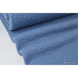 Tissu Lainage polyester Bouclette Bleu