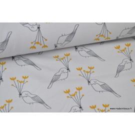 Tissu jersey BIO imprimé oiseaux Moutarde et Gris