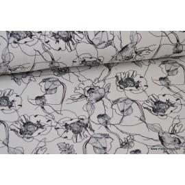 1 coupon de 60 cm Tissu jersey French terry imprimé Fleurs grises, noires et argent. Oeko tex