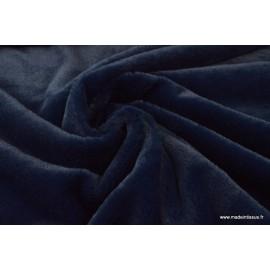 Tissu doudou FAUSSE FOURRURE Bleu marine