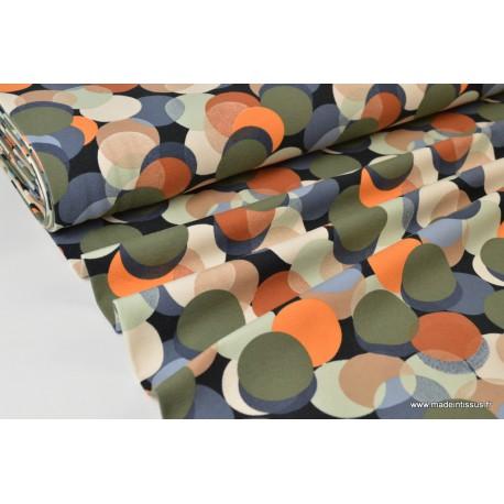 Tissu jersey Oeko tex imprimé gros Ronds kakis, bleus et orange
