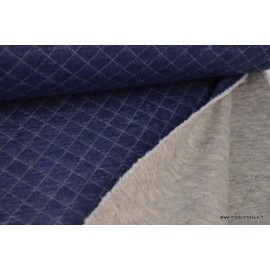 Jersey coton matelassé losange 1x1 DENIM MELANGE envers gris