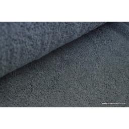 Tissu Eponge coton anthracite lisiere cousue fermée au mètre