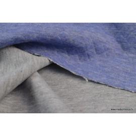 Tissu Jersey coton matelassé losange 1x1 JEAN MELANGE envers gris
