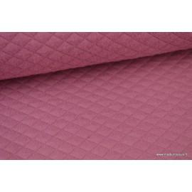Tissu Jersey coton matelassé 1x1 Vieux rose pour confection habillement .x1m