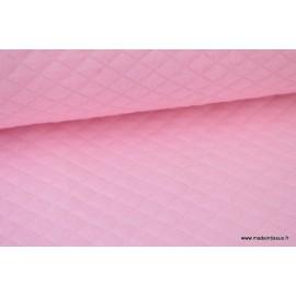 Tissu Jersey coton matelassé 1x1 rose pour confection habillement .x1m