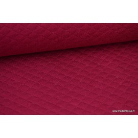 Tissu Jersey coton matelassé 1x1  fuchsia foncé