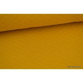 Tissu Jersey coton matelassé 1x1 moutarde