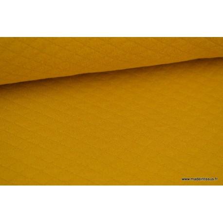 Jersey coton matelassé 1x1 moutarde