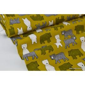 Tissu Popeline en coton gratté imprimé oursons sur fond Moutarde
