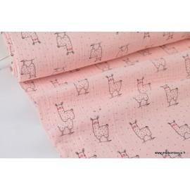 Tissu Tissu Double gaze Oeko tex imprimée lamas fond Rose x1m