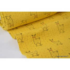 Tissu Tissu Double gaze Oeko tex imprimée lamas fond Moutarde x1m