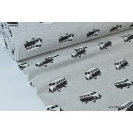 Tissu sweat envers minky Oeko tex imprimé Vans noirs et blancs sur fond gris chiné
