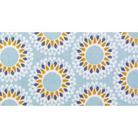 Tissu 100%coton ENDUIT imprimé mandala bleu et jaune