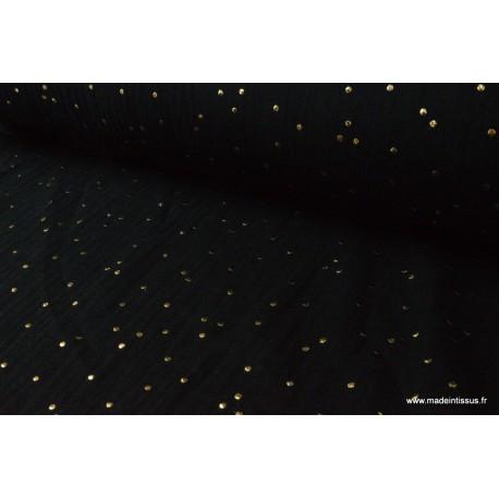 Tissu Double gaze coton Glitter à pois OR coloris NOIR.x1m