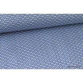 Popeline Stretch bleu et blanc .x1m