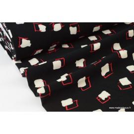 Tissu crêpe stretch lourd imprimé blocs fond noir