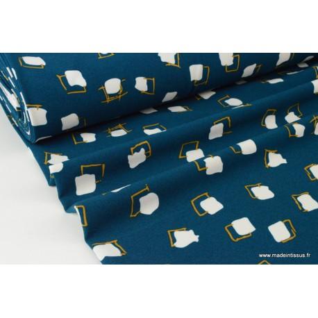 Tissu crêpe stretch lourd imprimé blocs fond bleu pétrole