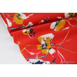 Viscose fluide imprimé fleurs sur fond Rouge