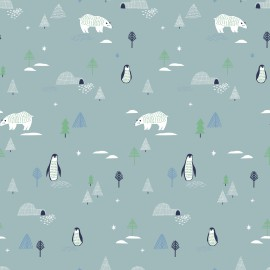 1 coupon Tissu popeline Oeko tex imprimé Ours, pingouins et sapins fond gris