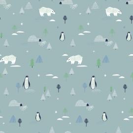 1 coupon de 75 cm de Tissu popeline Oeko tex imprimé Ours, pingouins et sapins fond gris