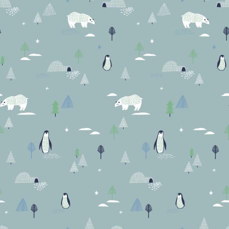 Tissu popeline Oeko tex imprimé Ours, pingouins et sapins fond gris